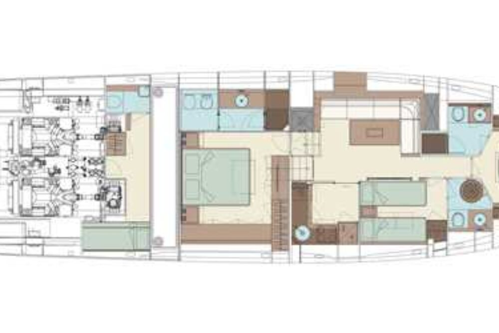 Riva 76′ Bahamas - Layout - Lower Deck