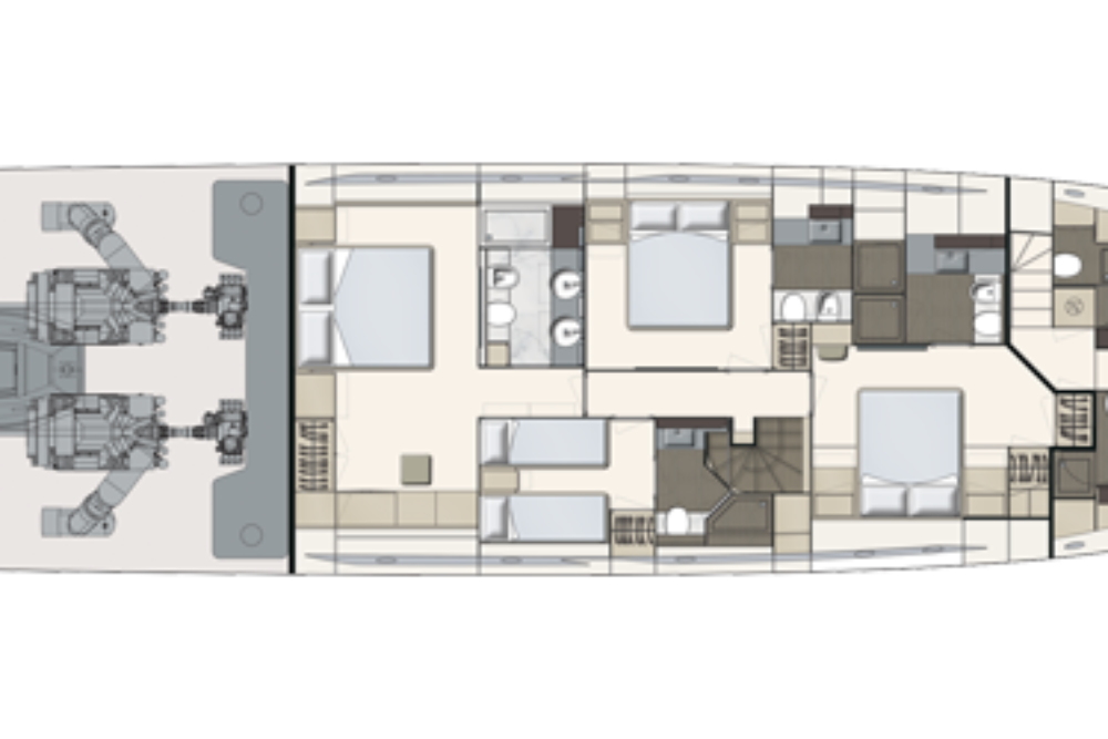 Ferretti Yachts 850 - Layout - Lower Deck
