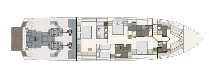 Ferretti Yachts 850 - Layout - Lower Deck