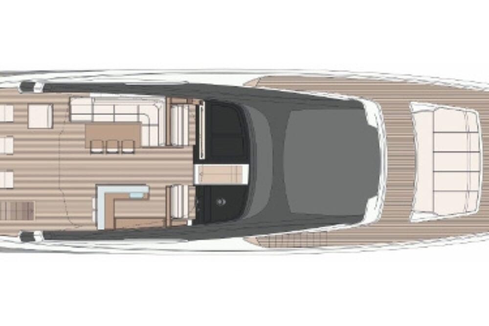 Riva 100′ Corsaro - Layout - Sun Deck