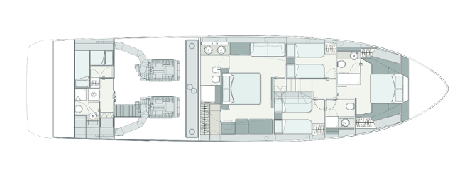Ferretti Yachts 720 New - Layout - Lower Deck