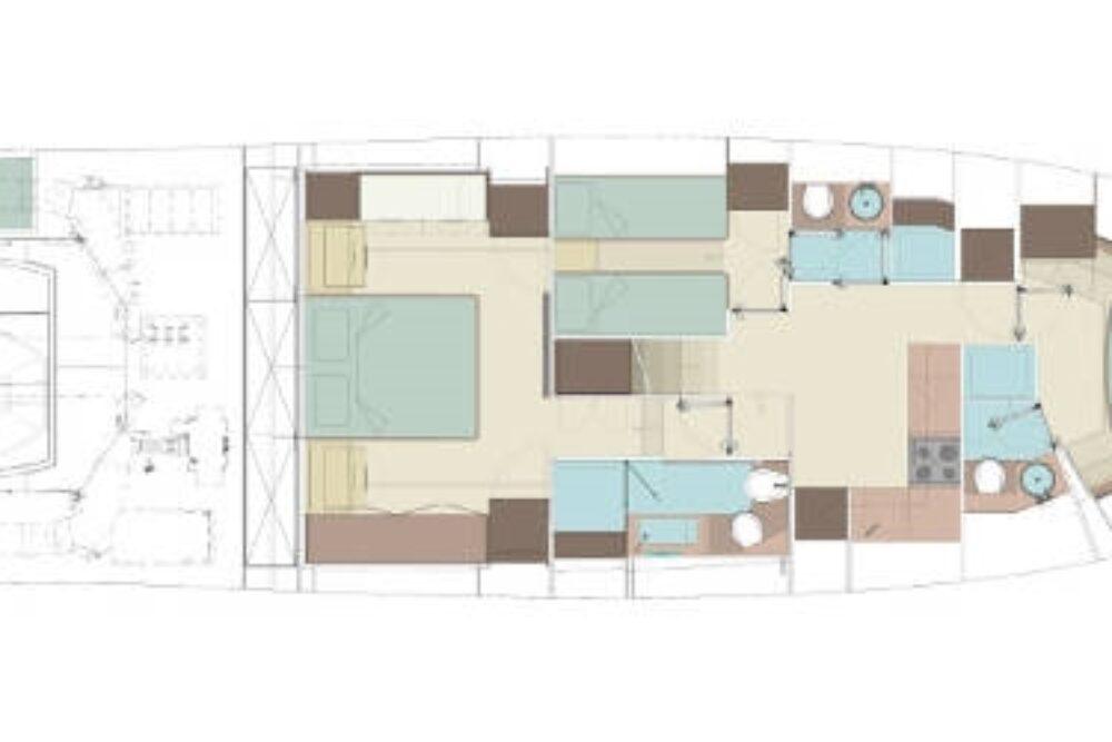 Riva 66′ Ribelle - Layout - Lower deck