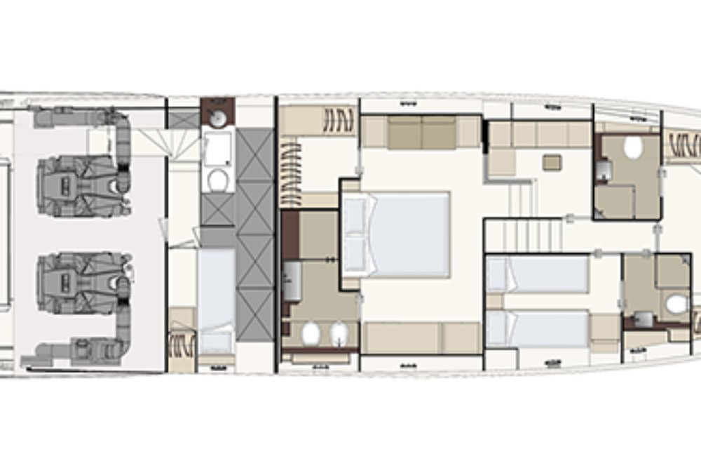 Ferretti Yachts 670 - Layout - Lower deck