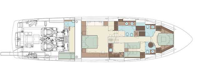 Riva 76′ Perseo - Layout - Lower Deck