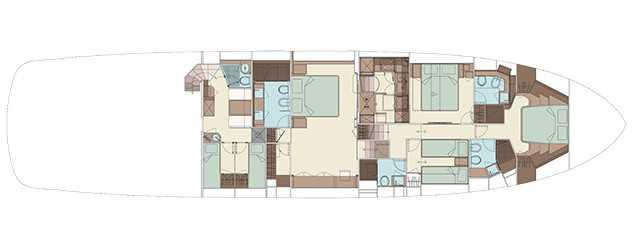 Riva 88′ Domino Super - Layout - Lower Deck