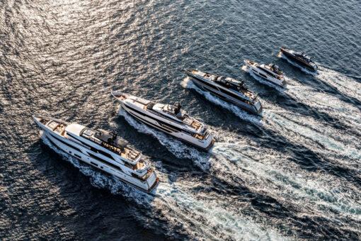 riva-yacht-fleet-running-on-sea
